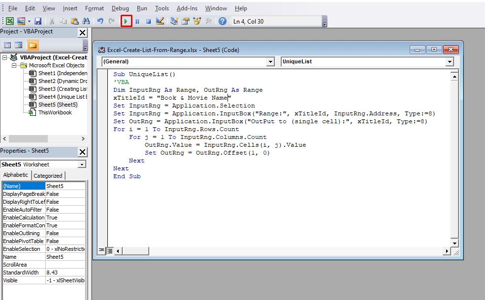 Create List from Range Using Excel VBA