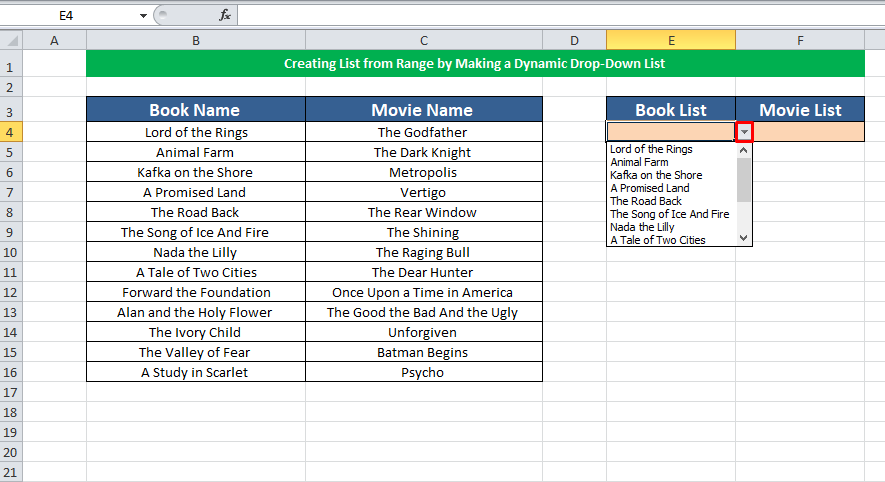 Creating List from Range by Dynamic Drop Down List