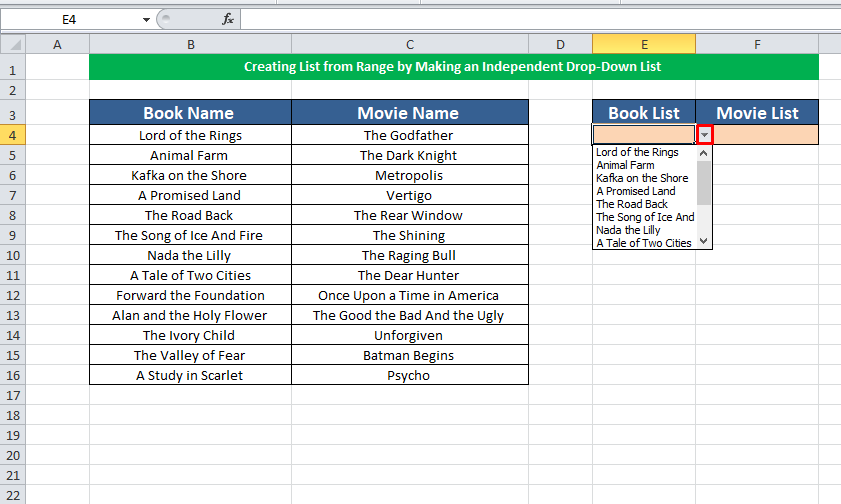 Creating List from Range by an Independent Drop Down List