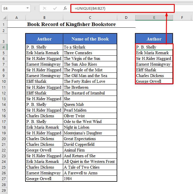 UNIQUE Function to Combine Rows in Excel