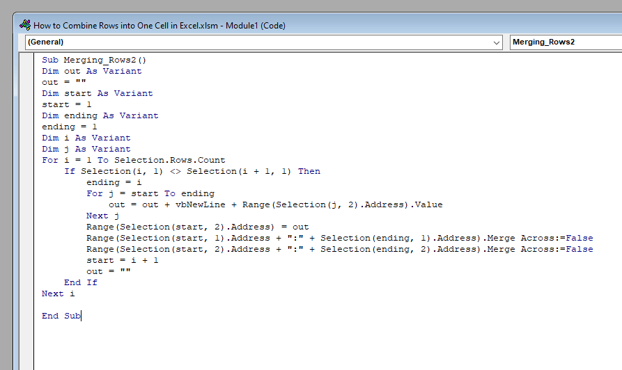 VBA Code to Combine Rows in Excel