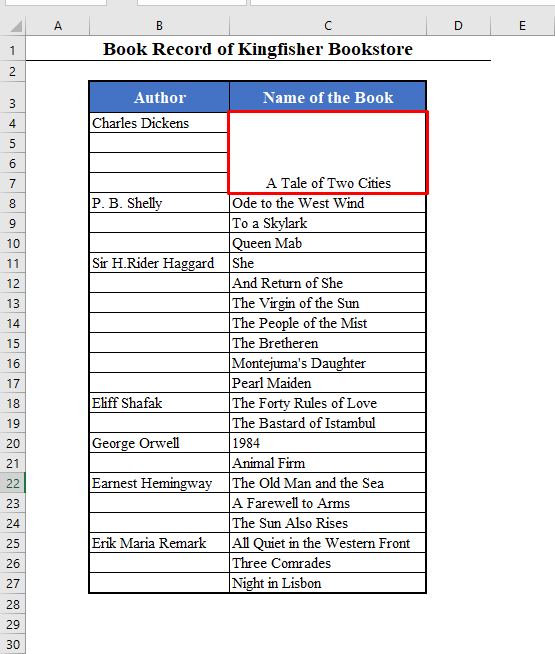 Merged Rows Using the Merge and Center Tool in Excel