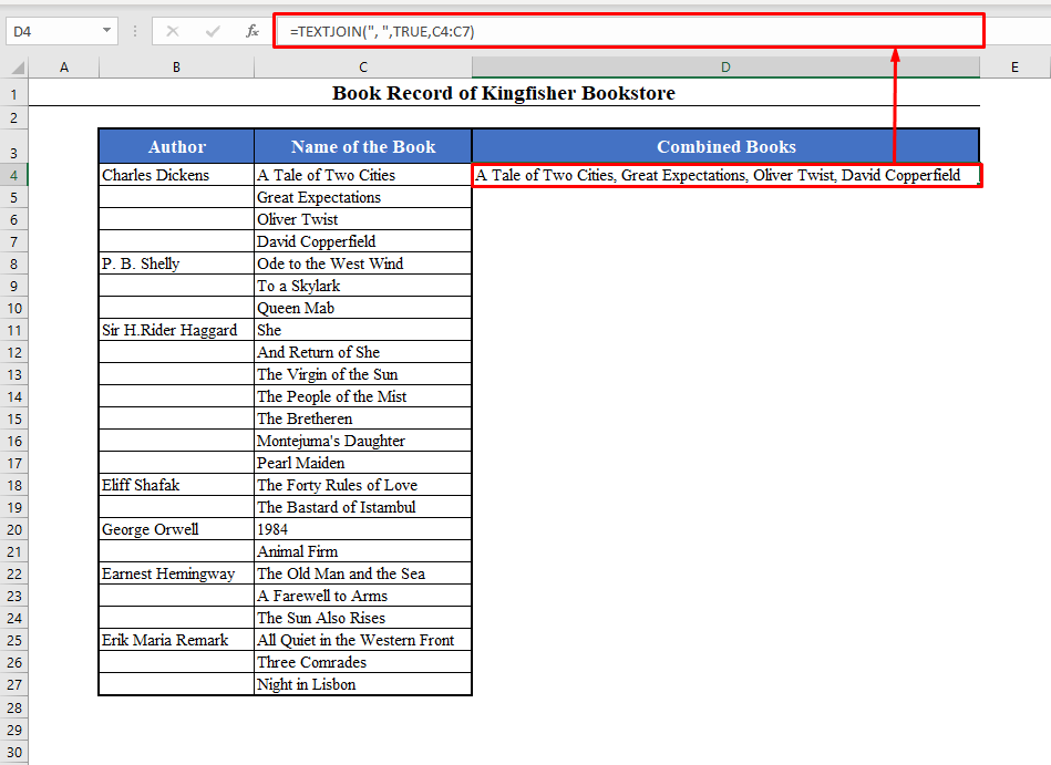 TEXTJOIN Function to Combine Rows in Excel