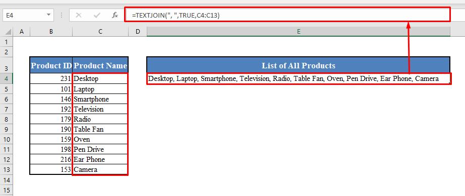 Quick View to Concatenate Range in Excel