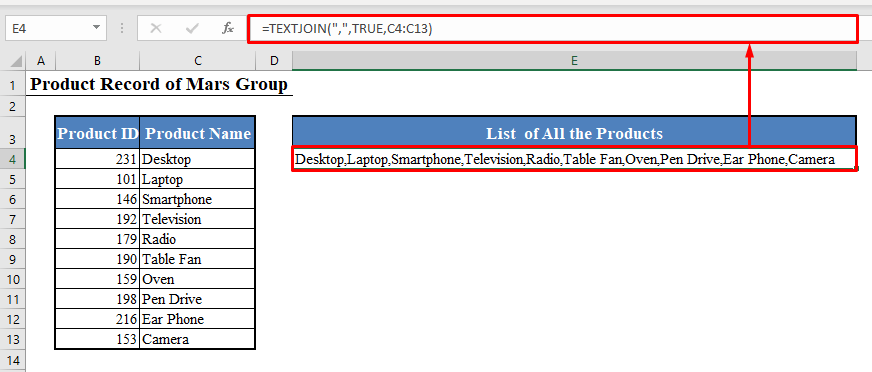 Concatenate Range Using the TEXTJOIN Function in Excel