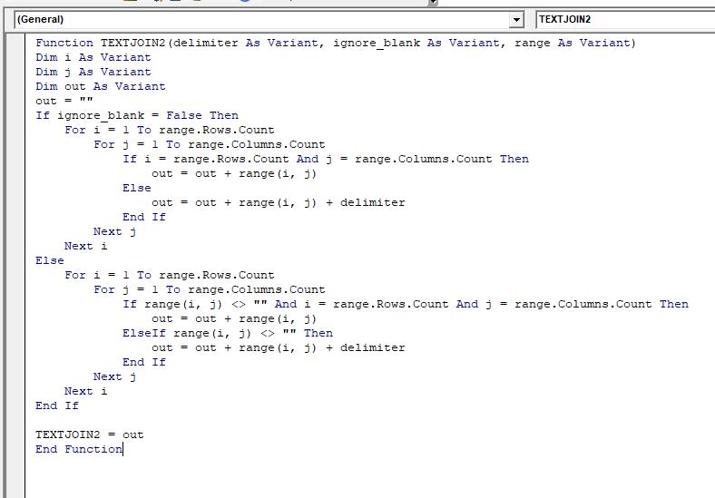 VBA Code to Concatenate Range in Excel