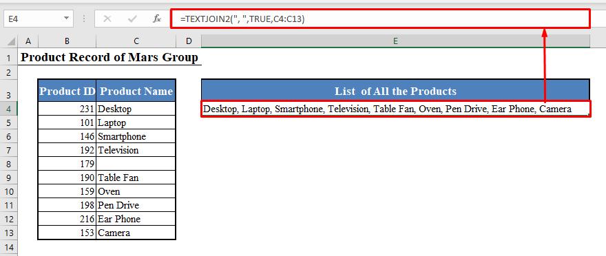 Concatenate Range in Excel Using VBA Function