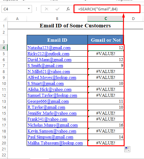 SEARCH Function to Find Text in Cell in Excel