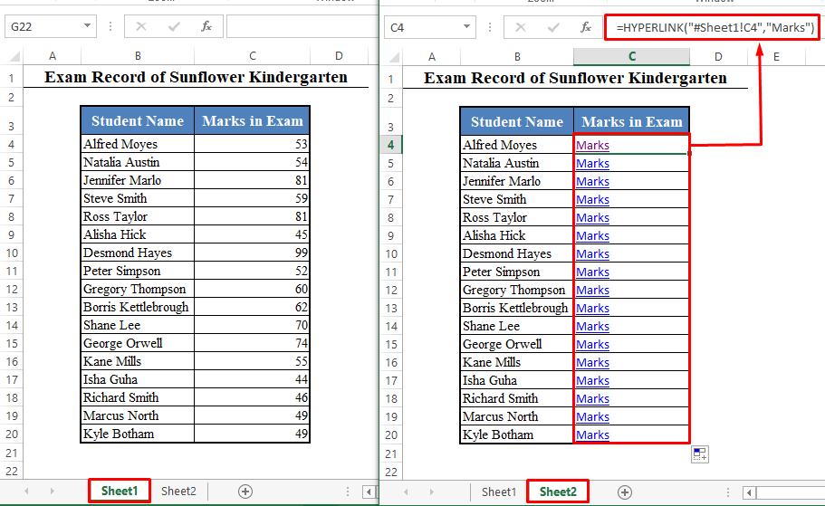 Adding Hyperlink Using the HYPERLINK Function of Excel