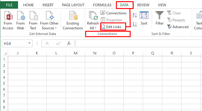 Opening External Links Manager in Excel