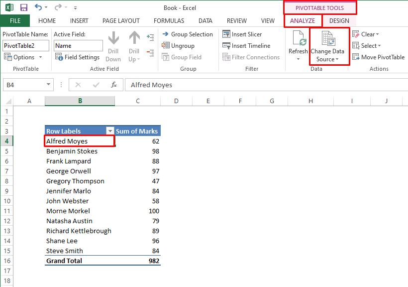 Pivot Table Tools in Excel