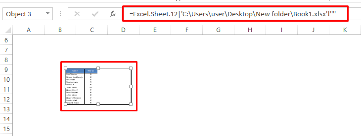 Formula with an Object in Excel