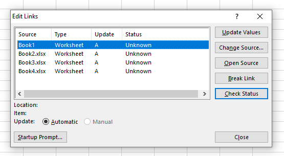 External Links Manager Box in Excel