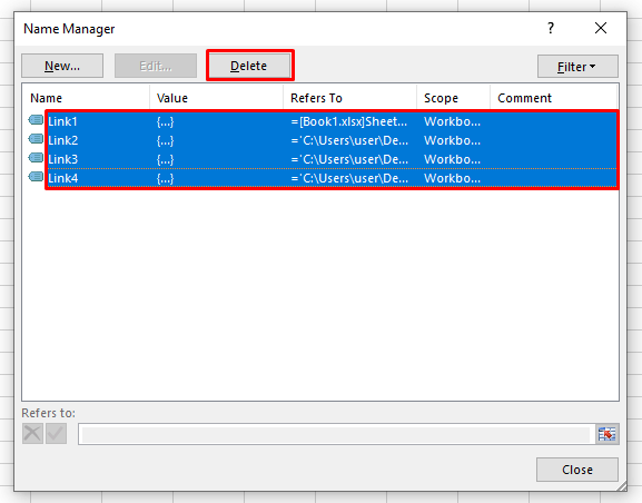 Removing all the Links Together from Excel Named Range