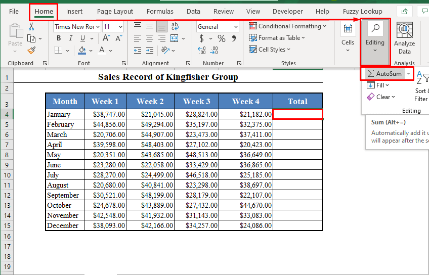 Autosum Tool to Add Numbers in Excel