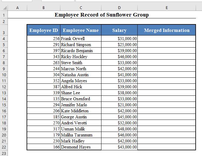 Data Set to Concatenate in Excel