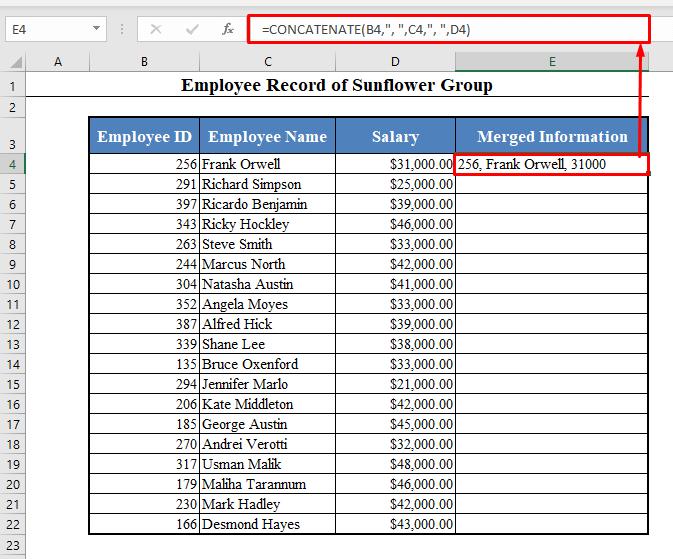 Concatenate Using the CONCATENATE Function of Excel