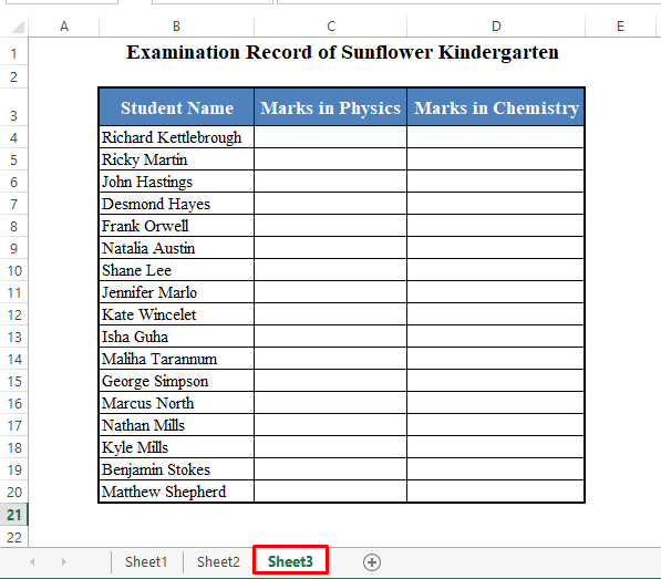 Data Set to Link Table to Another Sheet in Excel