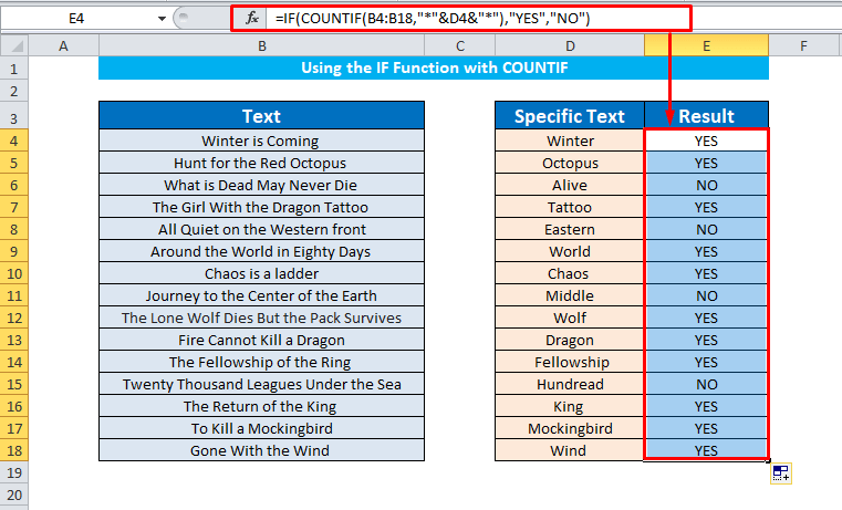 IF with COUNTIF function to find cells contain specific texts