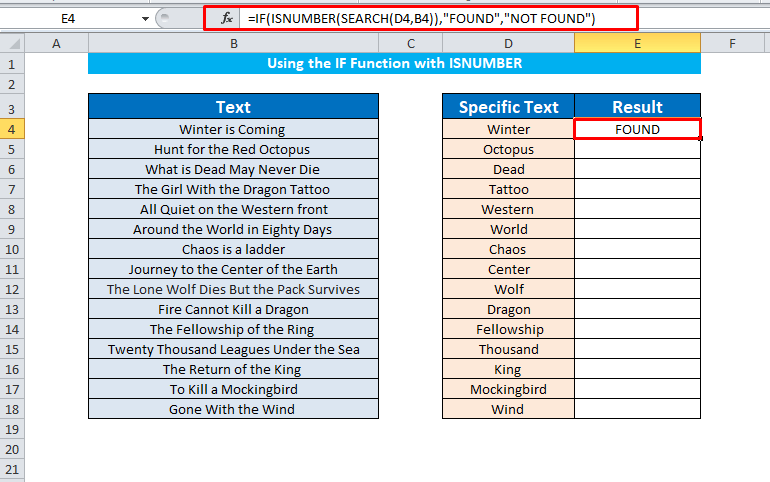 IF with ISNUMBER to find cells contain specific text