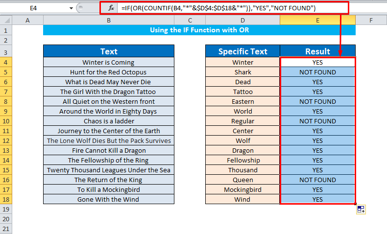 IF with OR to find cells contain specific text