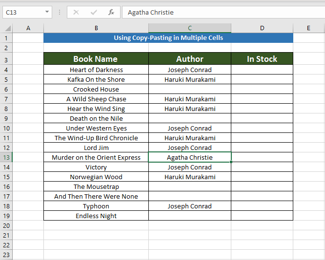 Creating table for copy pasting to Copy the Same Value in Multiple Cells