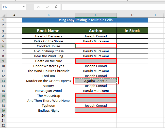 Copy-Pasting to Copy the Same Value in Multiple Cells