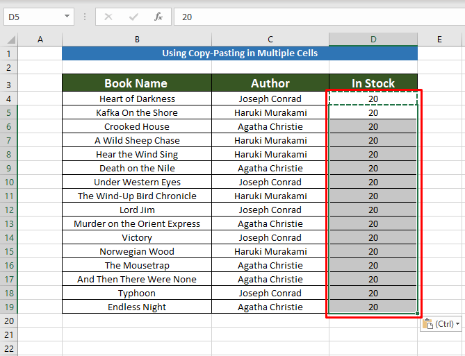 final result for Copying the Same Value in Multiple Cells