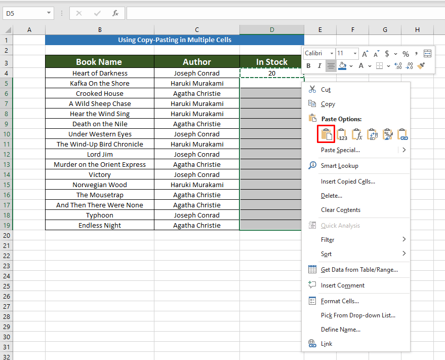 Using mouse shortcuts to Copy the Same Value in Multiple Cells