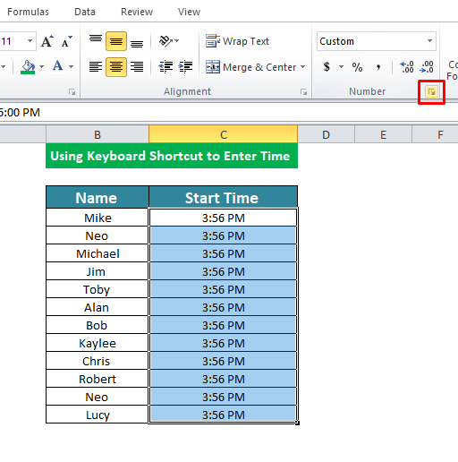 Using Keyboard Shortcut to Enter Time in Excel
