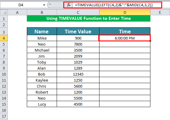 Using TIMEVALUE Function to Enter Time in Excel