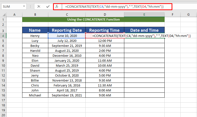 entering formula to combine date and time