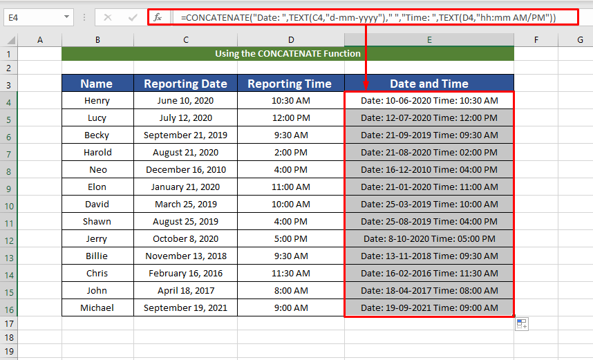 formatting for date and time