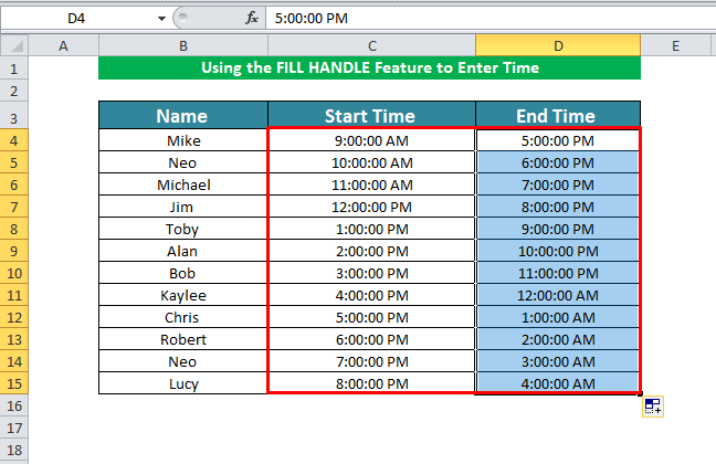 Using the FILL HANDLE Feature to Enter Time in Excel