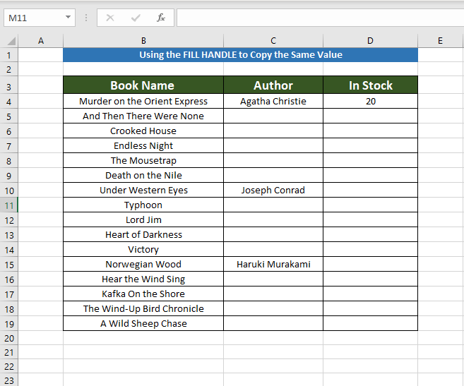 Dataset to Copy the Same Value in Multiple Cells
