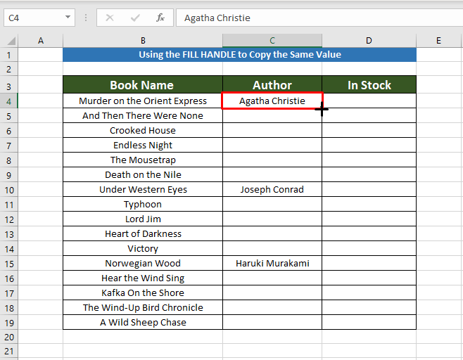 Following procedure to Copy the Same Value in Multiple Cells