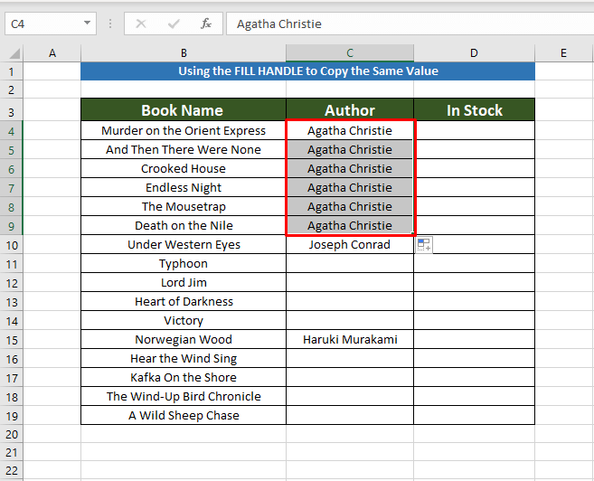 Getting Result to Copy the Same Value in Multiple Cells