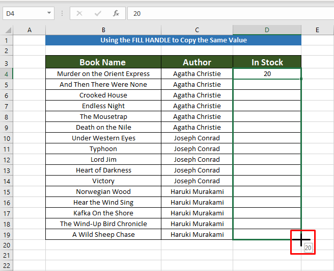 Applying fill handle to Copy the Same Value in Multiple Cells