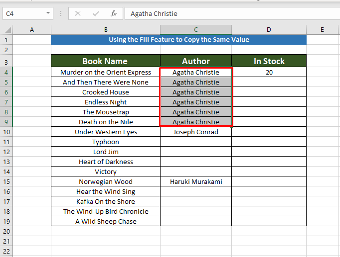 Using Fill to Copy the Same Value in Multiple Cells