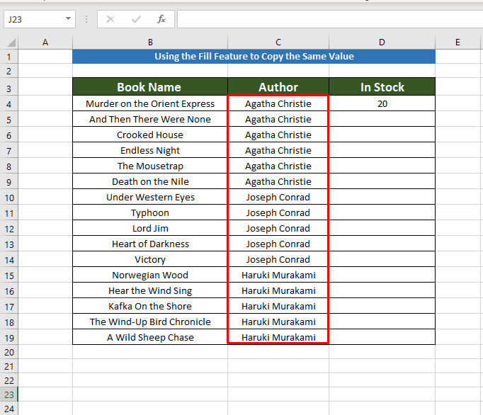 Getting result for Copying the Same Value in Multiple Cells