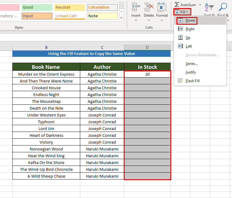 Applying Fill to Copy the Same Value in Multiple Cells