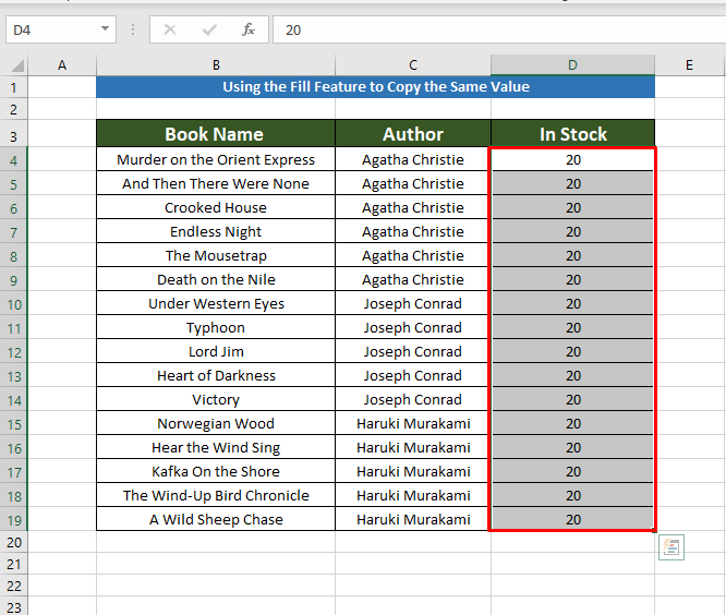 final result Using fill to Copy the Same Value in Multiple Cells