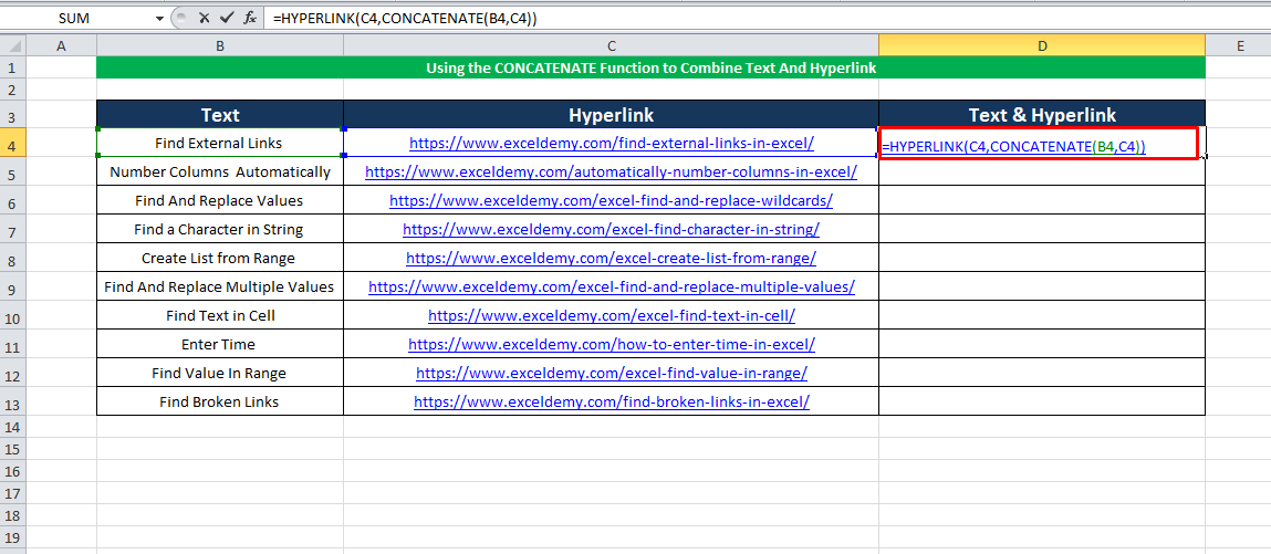 Using the HYPERLINK with the CONCATENATE Function to combine text and hyperlink