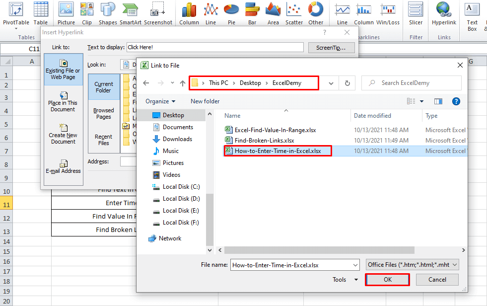 Using the Insert Hyperlink Dialogue Box to Combine Text And Hyperlink