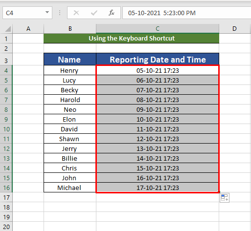 Keyboard shortcut to combine date and time
