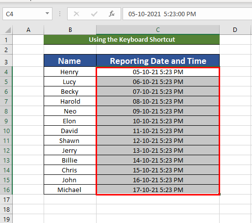 Combination of date and time