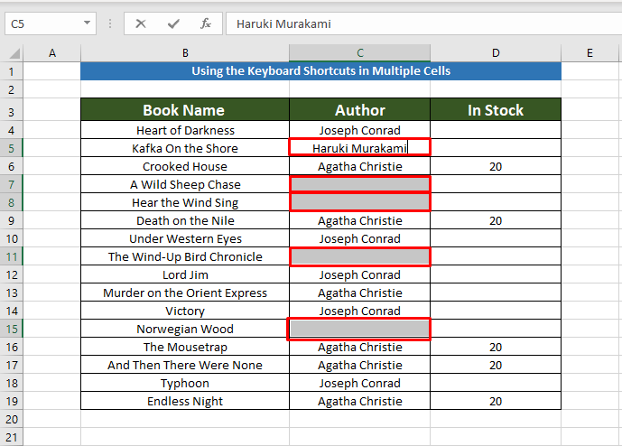 Keyboard shortcuts to Copy the Same Value in Multiple Cells