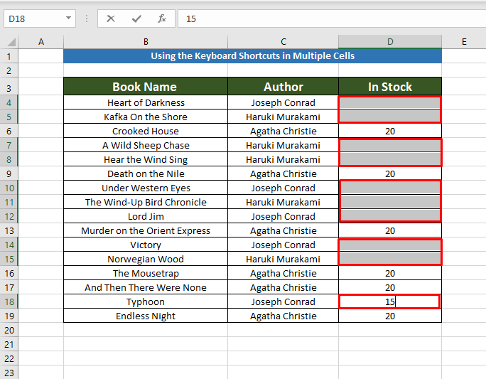 Applying keyboard shortcuts to Copy the Same Value in Multiple Cells
