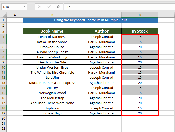 Final result using keyboard shortcuts to Copy the Same Value in Multiple Cells