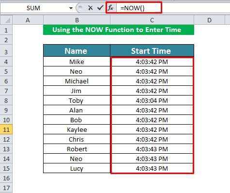Using the NOW Function to Enter Time in Excel
